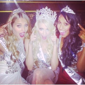 The 2013 Miss World Australia Dream Team. L-R: Natalie Roser, 1st Princess, Erin Holland MWA 2013 and Yasmin Kassim, 2nd Princess and Winner of the Beauty with a Purpose Award
