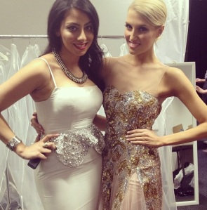Erin with Julie Sufi, head designer of couture house Belluccio